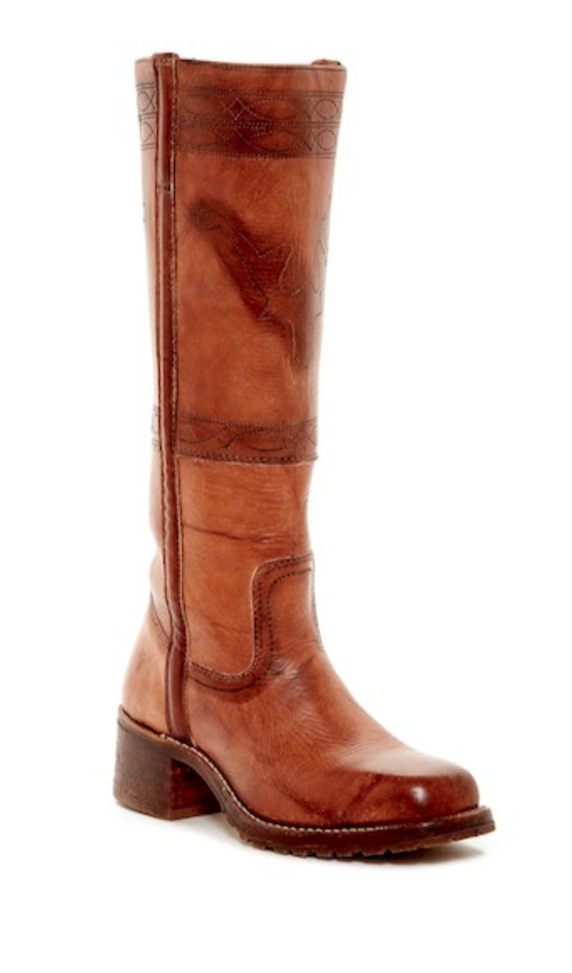 Frye Campus Riding Boot Saddle Tan Distressed Leather Classic Western Size 8 NEW