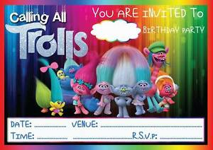 Details About Trolls Birthday Party Invitations Invites With Or Without Envelopes Poppy Branch