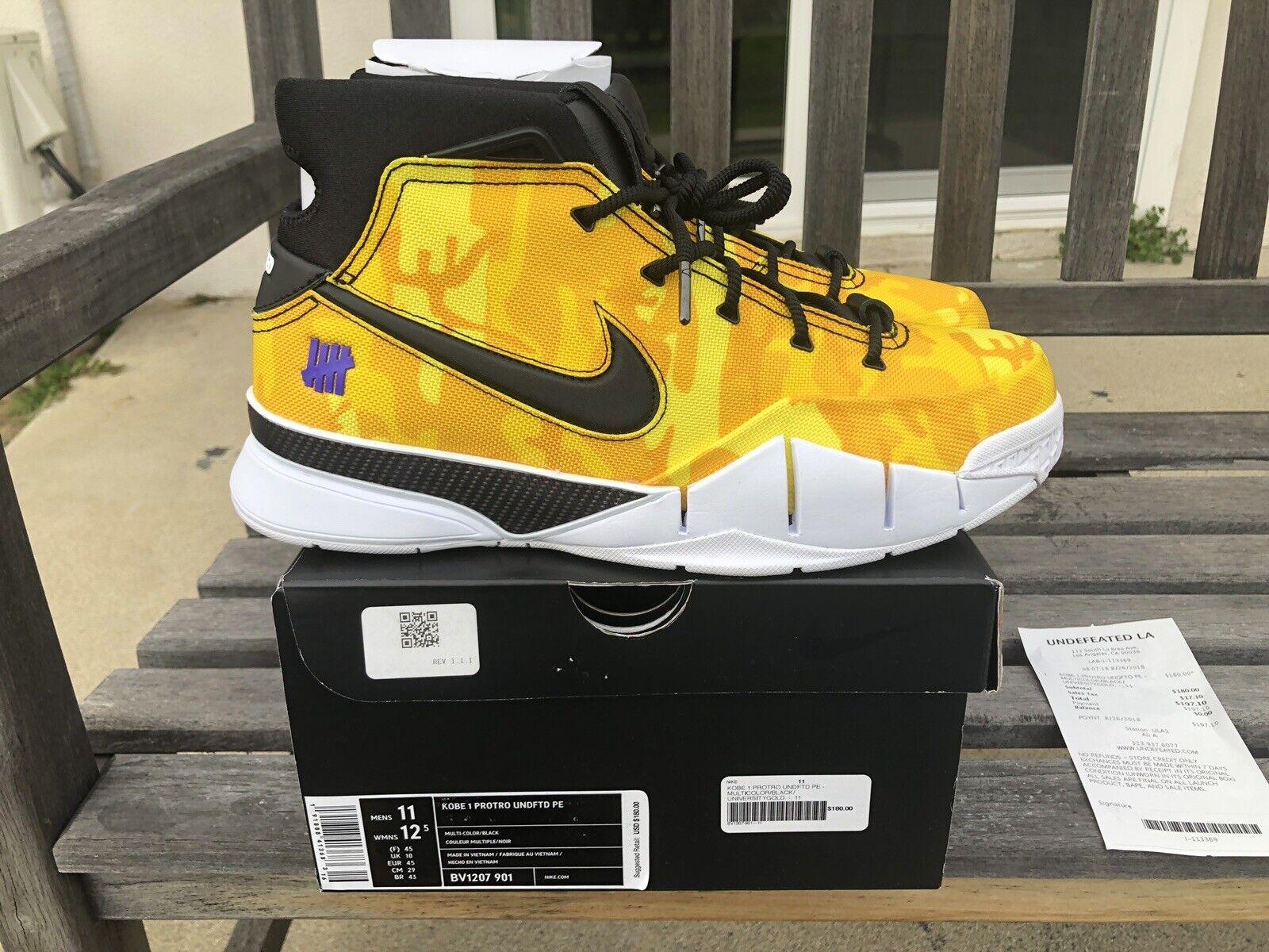 Nike Kobe 1 PredRO Undefeated PE Yellow Camo Le Brea Size 11 Ds New BV1207-901