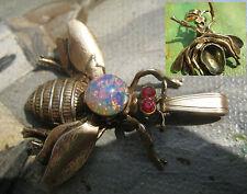 Vintage Anhänger Biene 925 Silber vergoldet Opal Rubin ? Silver pendant Insekt