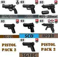 Pistol Pack V2 Army Weapons Pack (p7) Compatible With Toy Brick Minifigures