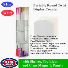 Us 81 Portable Spiral Tower Display Case With Shelves Top Light Clear Panels