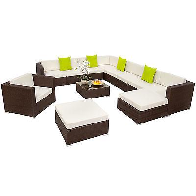XXL Poly Rattan Alu Sitzgruppe Lounge Rattanmöbel Gartenmöbel Sofa Set antik