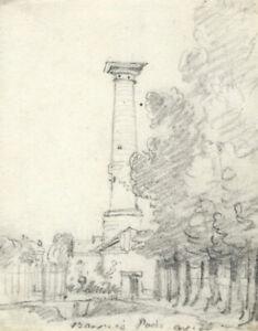 George Arnald ARA, Barrière du Trône, Paris – Original c.1818 graphite drawing