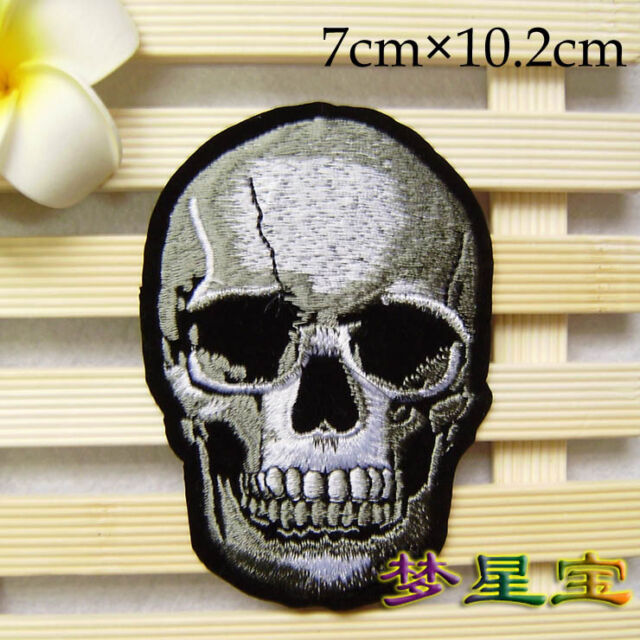 New Skull Head Embroidered Iron On/Sew On Biker Emo Goth Punk Patch Applique