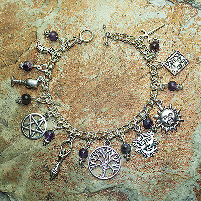 Wiccan 9 Charm Bracelet with Real 6mm Amethysts.Pagan Jewellery, Epona Boudica.