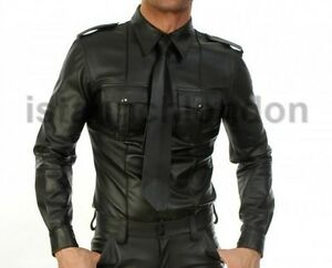 Mens-Genuine-Real-Black-Sheep-Leather-Police-Uniform-Shirt-BLUF-Gay-Full-Sleeves