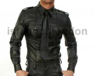 Hommes-Veritable-Mouton-noir-en-cuir-Police-Uniform-Shirt-BLUF-Gay-Full-manches