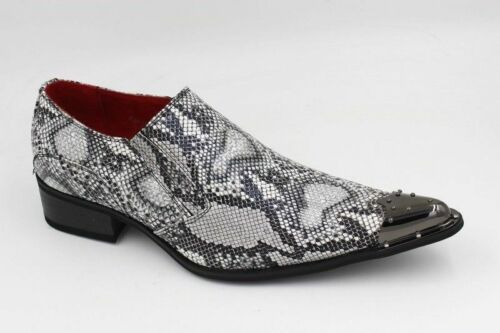 Men`s Shoes Black Leather Retro Vintage Snake Skin Lined Metal Pointed  wedding