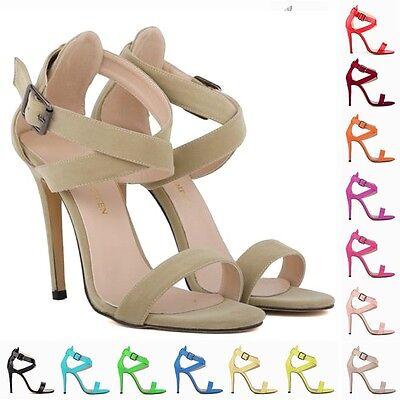 Womens Party Toe Bridal Faux Velvet High Heels Shoes Sandals SZ 2 3 4 5 6 7 8 9