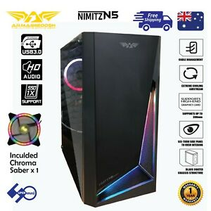 Gaming-PC-Case-Tempered-Glass-RGB-Strip-Micro-ATX-Nimitz-N5-with-1x120mm-LED-Fan