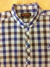 Ben Sherman check S/S Shirt. 2XL. blue, grey, black. Superb condition.