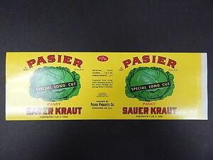 vintage label c 1941 pasier brand sauerkraut chicago il 30