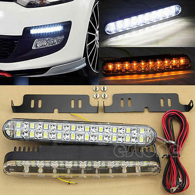 NEW 2pcs 30 LED Car Daytime Running Light DRL Daylight Lamp with Turn Lights