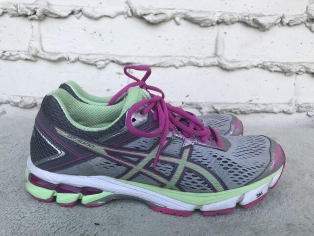 0a95122d5299 EUC ASICS T5A8N Women s GT-1000 4 Running Shoe Silver Pistachio Pink Glow