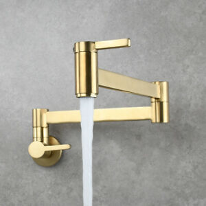 Brushed Gold Brass Pot Filler Wall Mount Kitchen Faucet Dual Handles Cold Tap