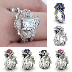 Women-Charm-Lotus-Flower-Crystal-Ring-Set-Luxury-Engagement-Wedding-Jewelry-Ring