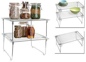 Image Is Loading 2 Rail Stackable Kitchen Cabinet Corner Helper Shelf