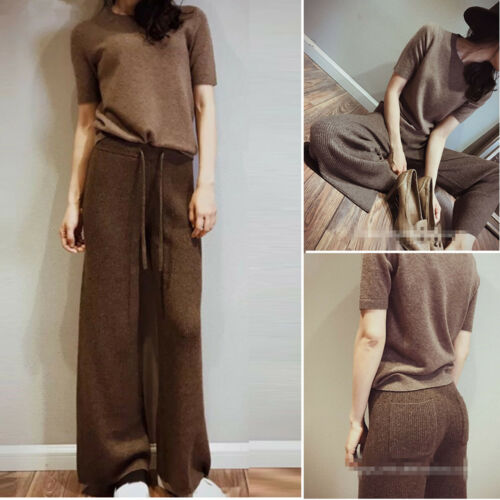 Chic High-waisted Womens Cashmere Blend Wide-leg Pants Loose Solid Lace Up