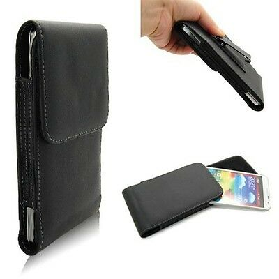New Black Leather Vertical Clip Flip Belt Pouch Case For Samsung Galaxy/Note