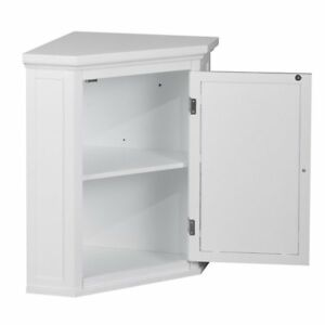 Captivating Elegant Home Fashions Sicily Corner Wall Cabinet With 1 Shutter Door White