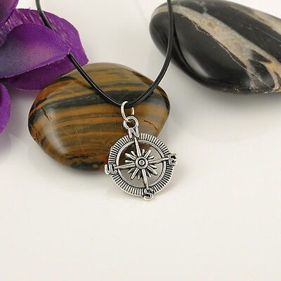 Tibetan Silver Compass Pendant Necklace Choker Chains Charm Black Leather Cord