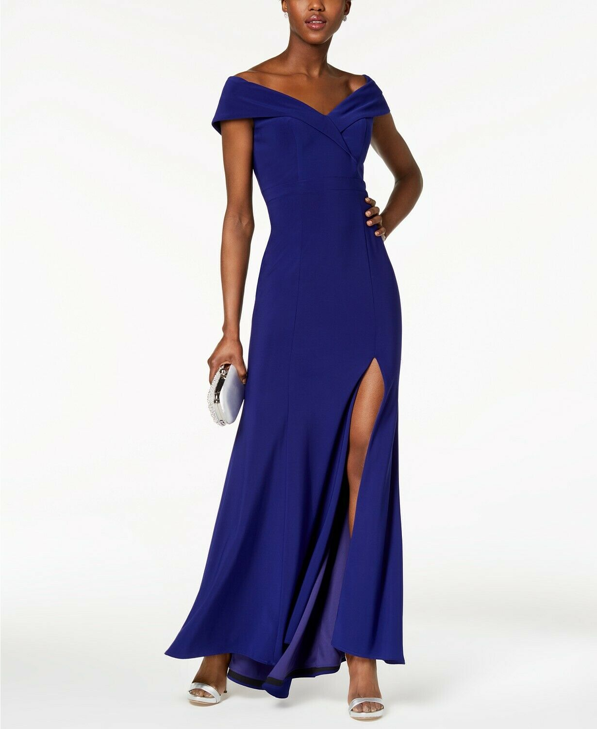 XSCAPE damen Blau OFF SHOULDER SIDE SLIT EVENING FORMAL DRESS GOWN Größe 2