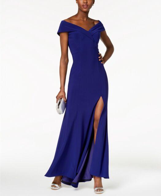 $481 Xscape Womens Blue Off Shoulder