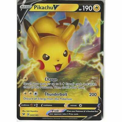 043//185 Pikachu VHalf Art Rare Holo V Pokemon Trading Card Vivid Voltage TCG
