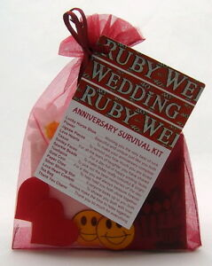 Image is loading Ruby-40th-Wedding-Anniversary-SURVIVAL-KIT-Novelty-Gift-