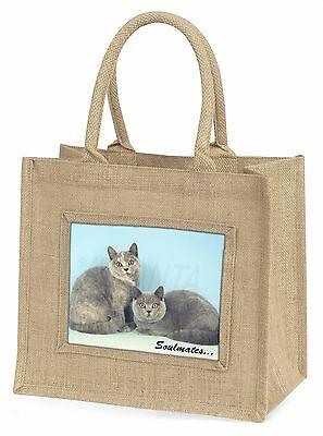 Britisch Blaucreme Katzen 'Soulmates Große Natürliche Jute-einkaufstasche Ch,