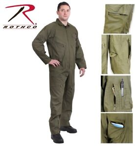 Details about OD Green Military Style Flight Suit Air Force Flight Coveralls Rothco 7500