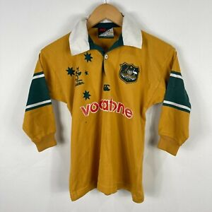 VINTAGE-Canterbury-Australian-Wallabies-Rugby-Jersey-Boys-Size-8-Long-Sleeve