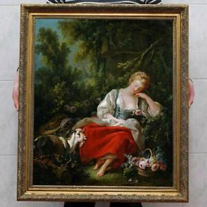 Old-Master-Art-Antique-Oil-Painting-Portrait-girl-Goat-on-canvas-30-034-x40-034