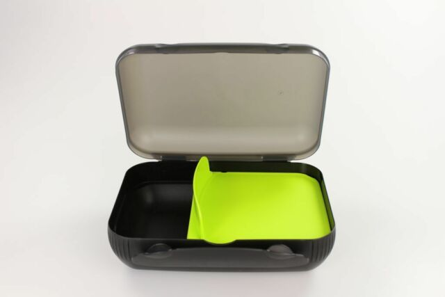 TUPPERWARE To Go Lunch-Box schwarz limette mit Trennung Brotbox Sandwich Dose