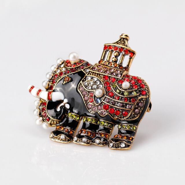 Popular Women Rhinestone Elephant Animal Shape Enamel Brooch Pin Fashion Jewelry