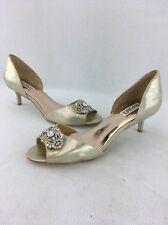 Badgley Mischka Gold D'Orsay Crystal Open-toe Kitten Heel Size:10 RH13539