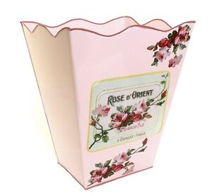 Wastebasket trashcan trash holder pink bathroom basket or for Pink bathroom bin