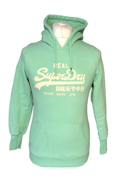 Superdry Women's Casual Green Hoodie Jumper Small Cotton Blend Marks