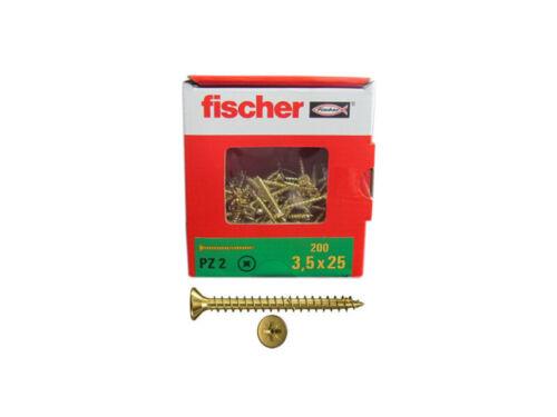 200x Fischer Spanplattenschrauben 3,5x25 PZ2 Kreuzschlitz gelbverzinkt