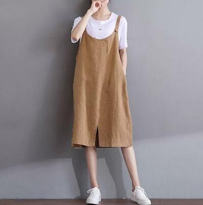 Sleeveless Apron Dress Cotton Casual Dress Linen Summer Dress