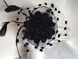 Black Feather Aliceband Headband Fascinator Ladies Day Ascot Races