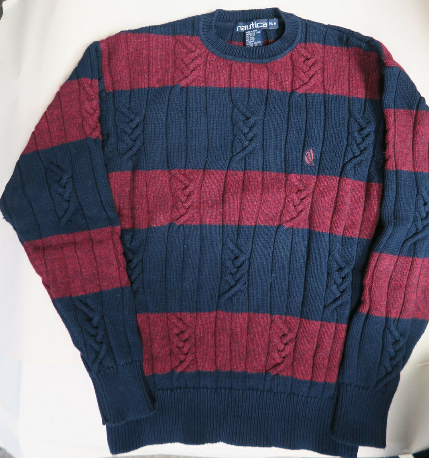 Men's Nautica Ship Logo Burgundy bluee Cotton Wool Cable Knit Crew Sweater M