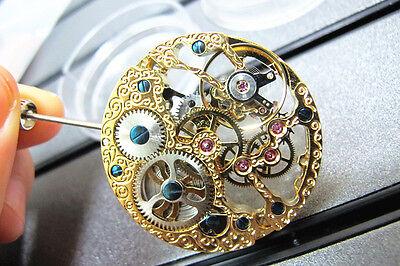 Parnis 17 Jewels Rose Golden Hollow 6497 Hand Winding Watch Movement