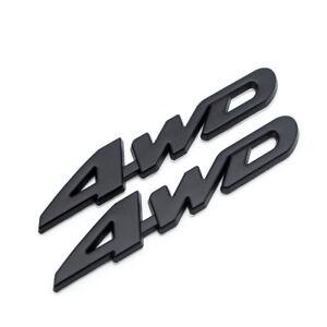 2x Door Fender Black Metal 4WD Off-Road Badge 4 Wheel Drive Rear Trunk 3D Emblem