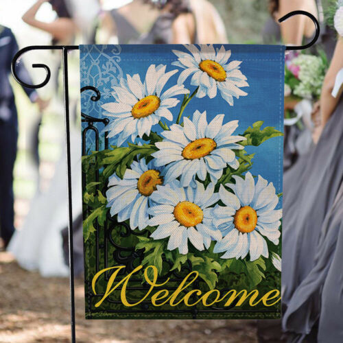 Creative Summer Burlap Welcome Garden Flag Festive Holiday Yard Decor Supplies