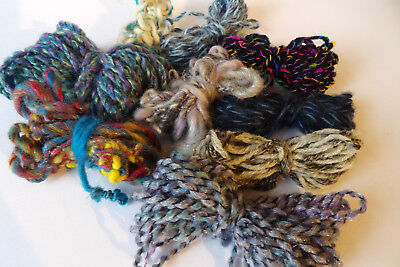 Knit Crochet Weave Scrapbook Aurora Snarl Black Hand Spun Mohair Wool Art Yarn