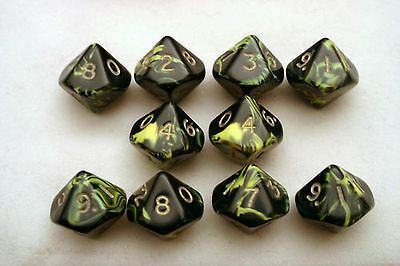 Oblivion D10 Set of 10 x Ten Sided Dice - Yellow