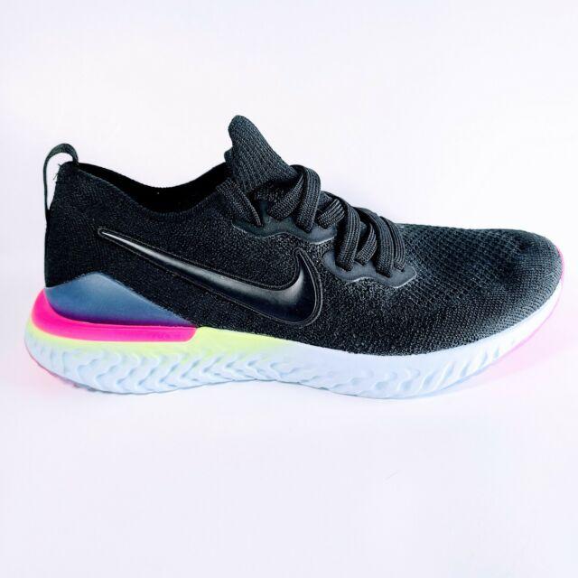 Nike Epic React Flyknit 2 Black Sapphire Grade School Youth Size 7Y AQ3243 003