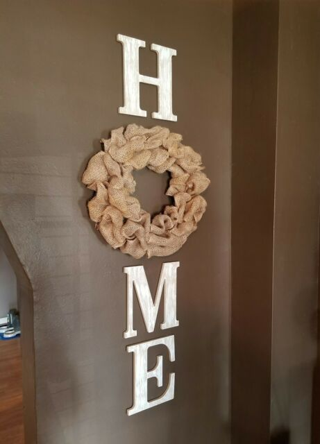 Burlap Wreath Distressed White Wood Home Letters Wall Farmhouse Rustic Decor